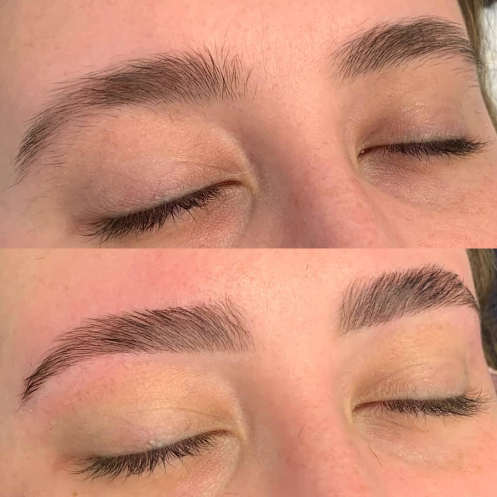 before and after brow lamination picture