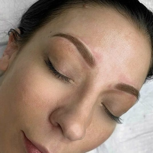 Final results of ombre powdered brow service
