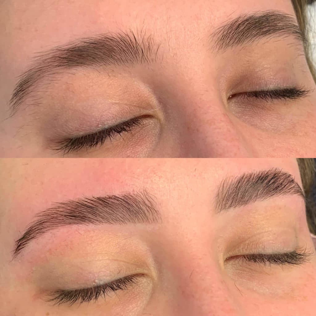 Beautiful shaped brows after being threaded