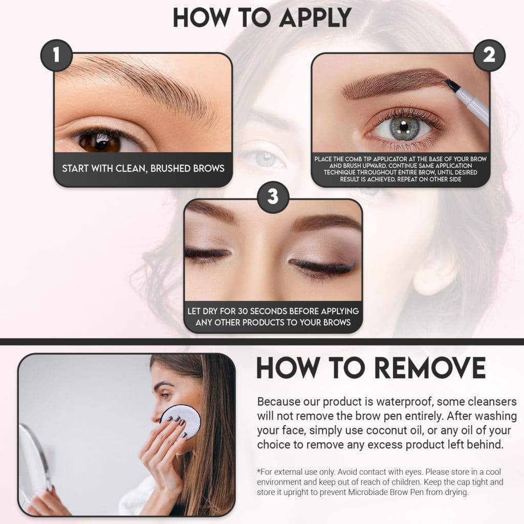 How to remove Microblade Tattoo Brow Pen infographic